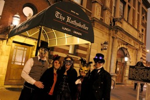 Outside the Rathskellar, host of Circle City Aerodrome's Masquerade Ball, 3013