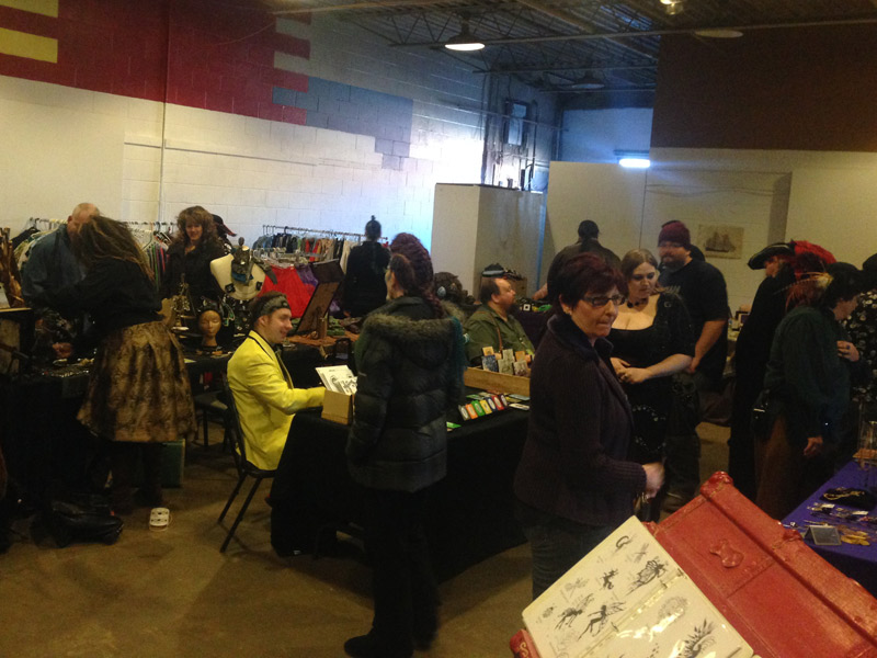 Part of the packed vendor room